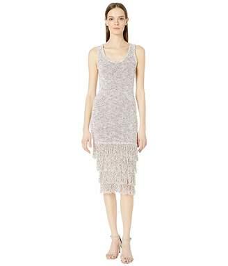 Cushnie Sleeveless Midi Length Knit Dress with Tiered Fringe