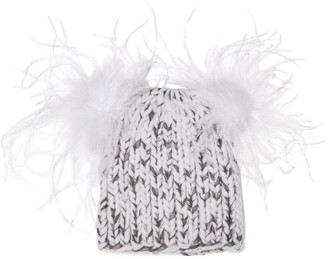 Eugenia Kim Mimi Feather-embellished Metallic Marled Wool-blend Beanie