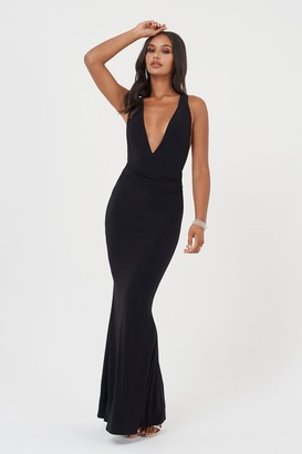 Club L Womens **Black Open Back Strap Maxi Dress By Black