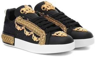 Dolce & Gabbana Portofino leather-trimmed sneakers