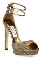 Jimmy Choo Mayner Glitter & PVC Platform Sandals