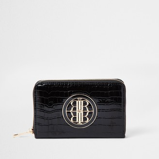 River Island Womens Black patent embossed mini ziparound purse