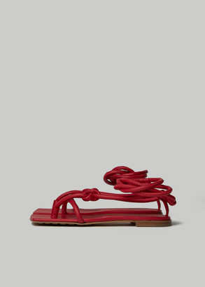 Bottega Veneta Women's Flat Strappy Sandal in Bright Red Size 38 Calfskin Leather