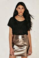 Nasty Gal nastygal Bethany Metallic Vegan Leather Skirt