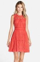 Adelyn Rae Illusion Yoke Lace Fit & Flare Dress