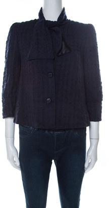 Emporio Armani Navy Blue Textured Wool Neck Tie Detail Padded Shoulder Top M