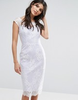 Paper Dolls Sheer Lace Overlay Bardot Dress