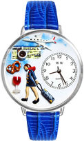 Whimsical Watches Personalized Flight Attendant Womens Silver-Tone Bezel Blue Leather Strap Watch