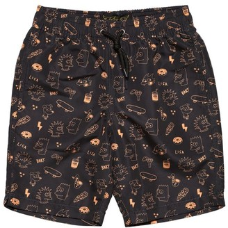 Finger In The Nose The Simpsons Print Nylon Swim Shorts