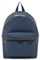 HUGO BOSS - Monogram Print Backpack In Coated Italian Fabric - Dark Blue