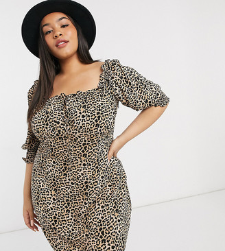 Wednesday's Girl Curve mini dress with puff sleeves in leopard print