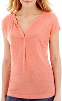 JCPenney STYLUS Stylus Short-Sleeve Split-Neck Henley T-Shirt