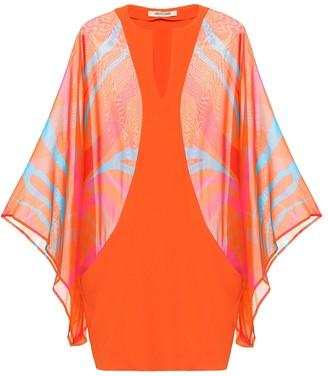 Roberto Cavalli Printed silk kaftan top
