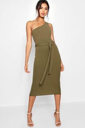 boohoo One Shoulder Belted Midi Dress