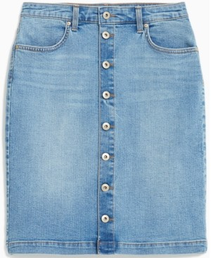 Style&Co. Style & Co Petite Button-Front Denim Skirt, Created for Macy's