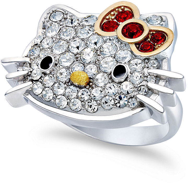 Hello Kitty Sterling Silver Ring, Large Pave Crystal Face Ring