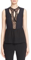 Yigal Azrouel Lace Placket Silk Crepe Top