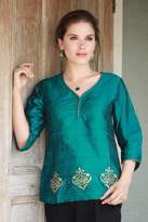 Beaded Silk Block Print Tunic in Green and Blue, 'Emerald Empress'