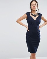 Little Mistress Sweetheart Neck Pencil Dress With Embellished Neckline