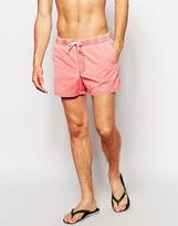 Asos Swim Short In Red With Acid Wash Short Length