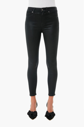 7 For All Mankind The Black Coated High Waist Ankle Skinny