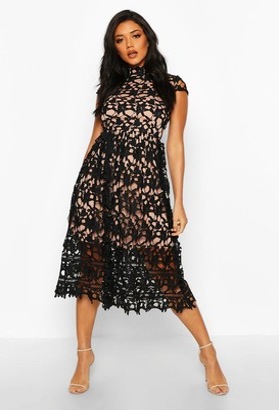 boohoo Boutique Lace Midi Skater Bridesmaid Dress