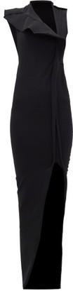 Rick Owens Calla Open-neck Side-slit Cotton-blend Dress - Black
