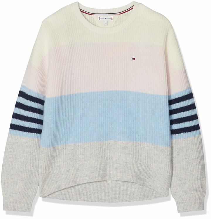 Tommy Hilfiger Girl's Fluffy Colorblock Sweater Ls Sweatshirt