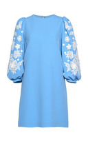Andrew Gn Embroidered Sleeve Crepe Mini Dress