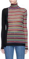 Sonia Rykiel Asymmetric hem stripe silk-cotton turtleneck sweater