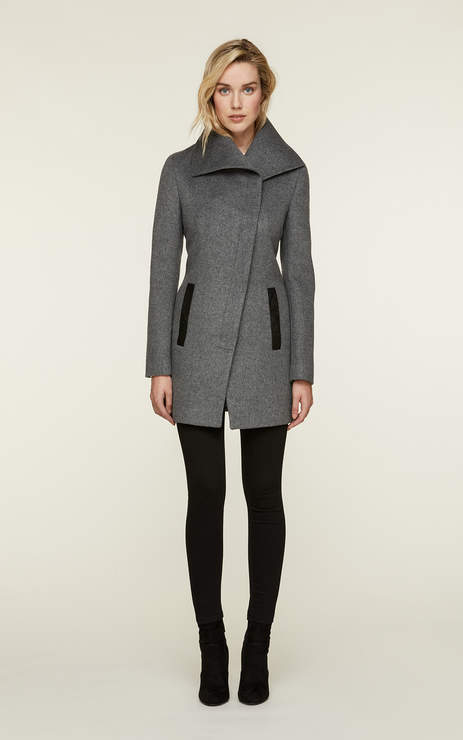 Soia & Kyo JENNA slim-fit wool coat with asymmetrical collar