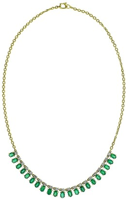 Irene Neuwirth 18kt Yellow Gold Faceted Emerald And Diamond Necklace
