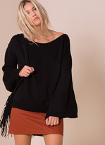 Missy Empire Lila Black Oversized Bell Sleeve Knitted Jumper