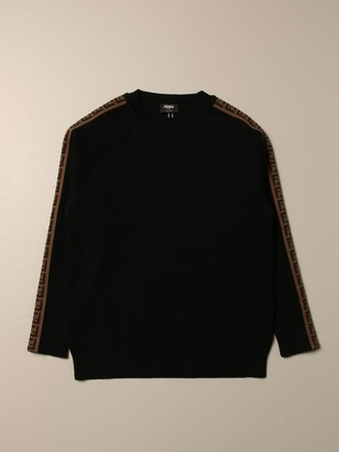 Fendi Crewneck Sweater With All Over Ff Bands