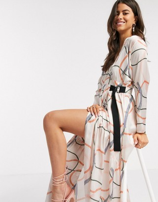ASOS DESIGN wrap maxi dress in contemporary print