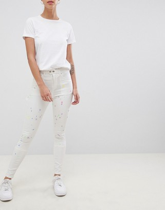 ASOS DESIGN Ridley high waist skinny jeans with painter styling in pax painted wash
