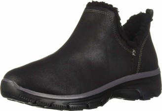 Skechers Women's Easy Going-Buried-Scooped Collar Bootie with Faux Fur Trim Ankle Boot