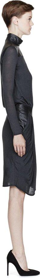 Helmut Lang Charcoal Leather & Jersey Turtleneck Dress