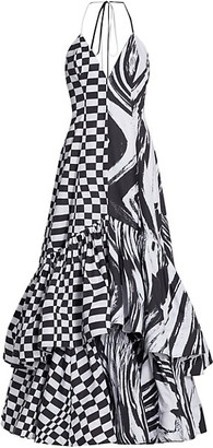 Christopher John Rogers Graphic Cotton Halter Maxi Dress