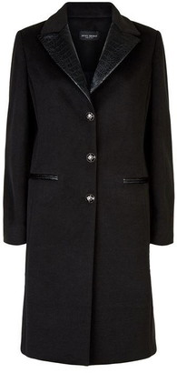 James Lakeland Tailored Faux Leather Collar Coat