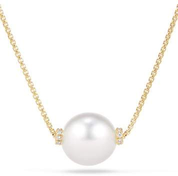 David Yurman Solari Single Station Necklace in 18K Gold with Diamonds and South Sea Cultured Pearl