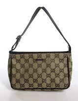 Gucci Brown Canvas Guccissima Zipper Closure 2 Pocket Pochette Handbag