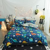ORoa Cute Kids Students Bedding Set 3 Pieces Reversible Cartoon Fish Pattern Duvet Cover Boys and Girls 100% Cotton Full Size (Full/Queen, Dinosaur)