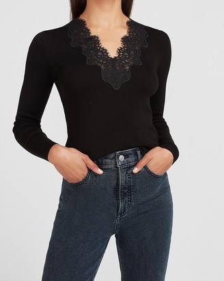 Express Lace Trim V-Neck Sweater