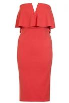 Quiz Orange Bandeau V Bar Midi Dress