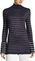 WORTHINGTON Worthington Long Sleeve Turtleneck Stripe Pullover Sweater