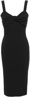 Victoria Beckham Twist-front Silk And Wool-blend Midi Dress