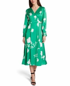 Tahari ASL Long-Sleeve Midi Faux-Wrap Dress