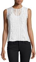 Nanette Lepore Sleeveless Lace-Appliqué Top, White