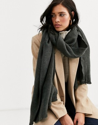 Asos Design DESIGN supersoft long woven scarf with raw edge in gray